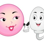 Mascot Illustration Featuring an Egg and Sperm Cell Holding Hand